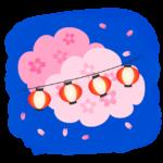 夜桜の花と明かりを灯した赤い提灯のイラスト