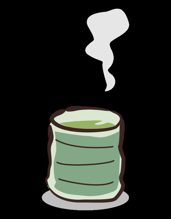湯気の立ったお茶のイラスト