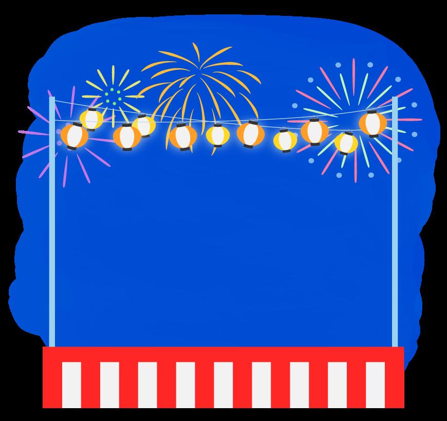 お祭りの紅白幕と提灯と花火のフレーム・枠イラスト