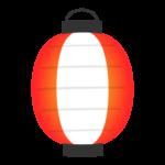 明かりを灯した赤い提灯のイラスト