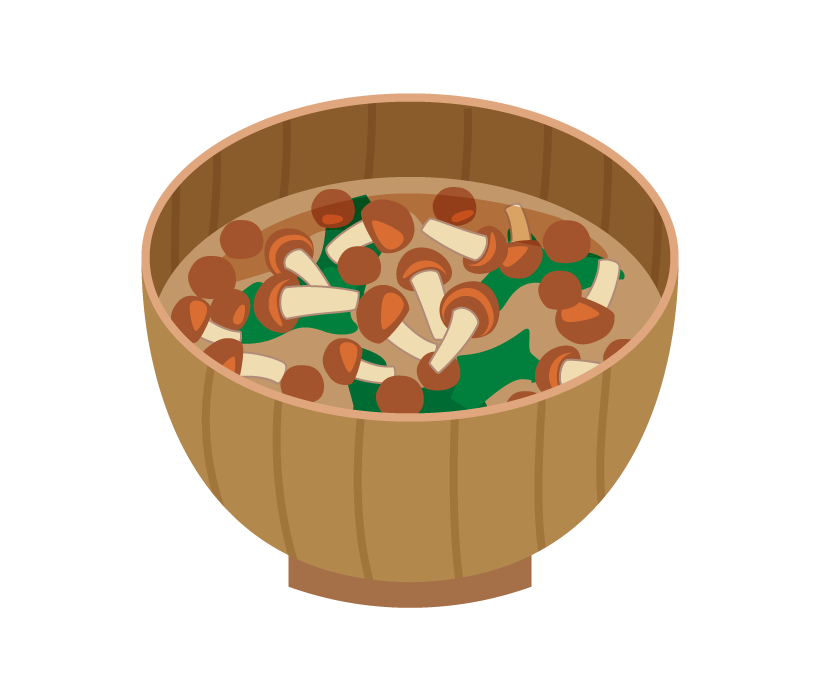 なめことわかめのお味噌汁のイラスト