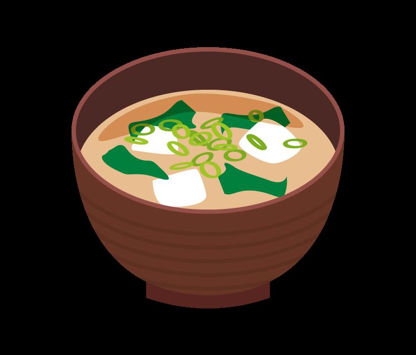 豆腐とわかめのお味噌汁のイラスト