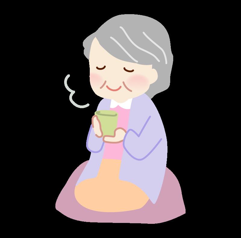 お茶を飲むおばあさんのイラスト