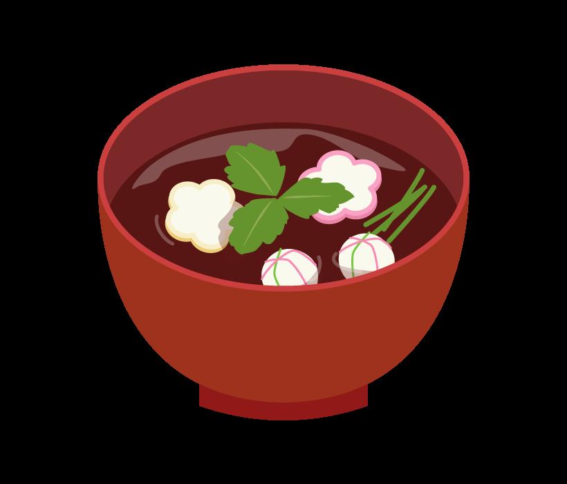 花麩と手まり麩のお吸い物のイラスト
