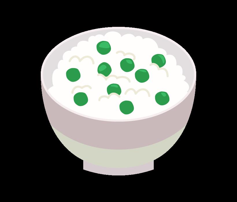 グリンピースご飯のイラスト