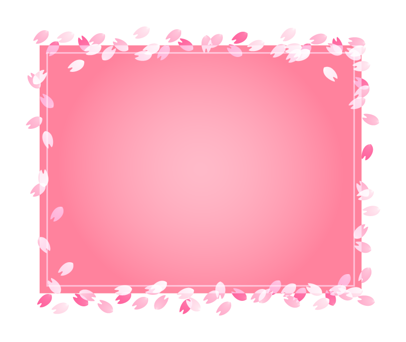 桜の花びらのピンク色のフレーム・枠イラスト