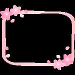桜の花びらの手書き風ピンク色のフレーム・枠イラスト