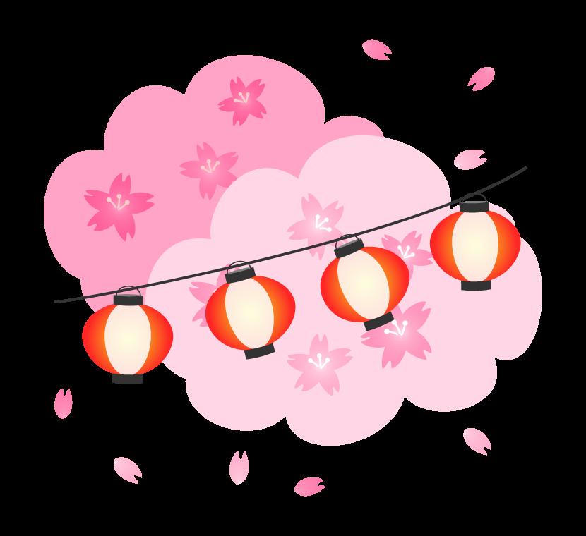 桜の花と明かりを灯した赤い提灯のイラスト