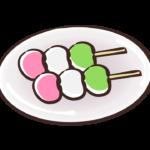 お皿に乗せた三色団子のイラスト