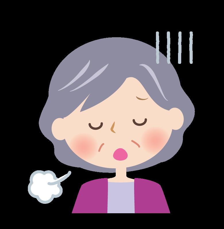 深いため息をつくおばあさんの顔のイラスト