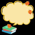 落ち葉と本の吹き出しフレーム・枠イラスト