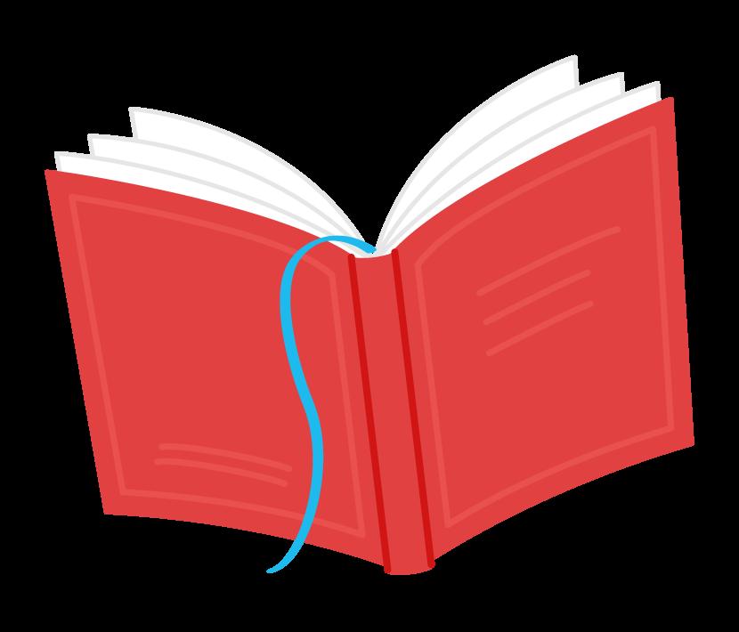 開いた赤い色の本のイラスト
