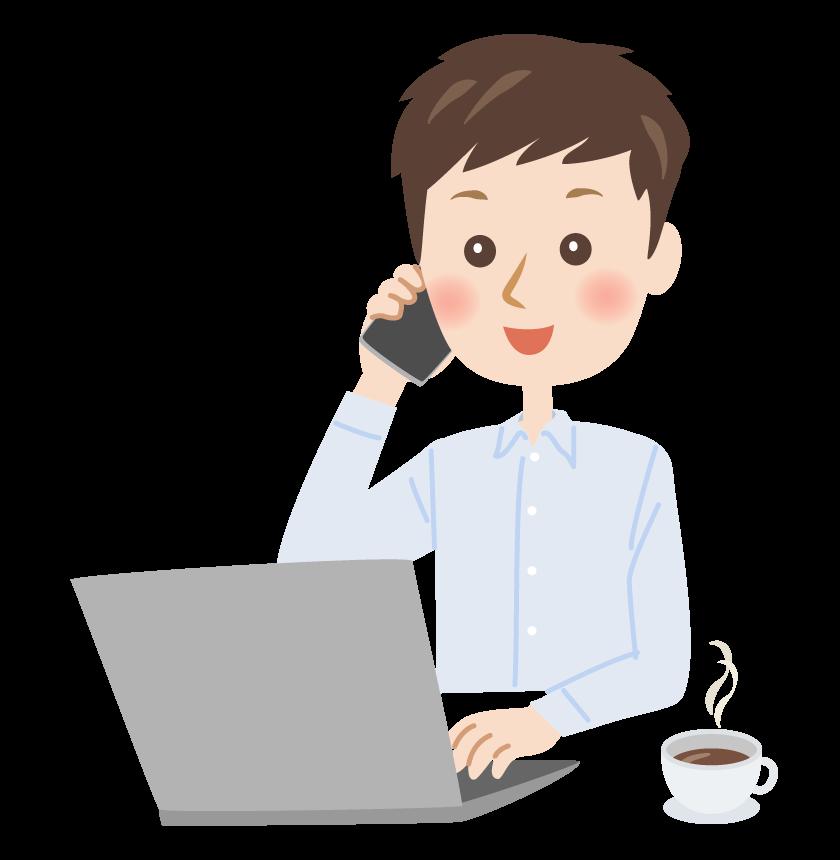 パソコンを前にスマホで電話をする男性のイラスト