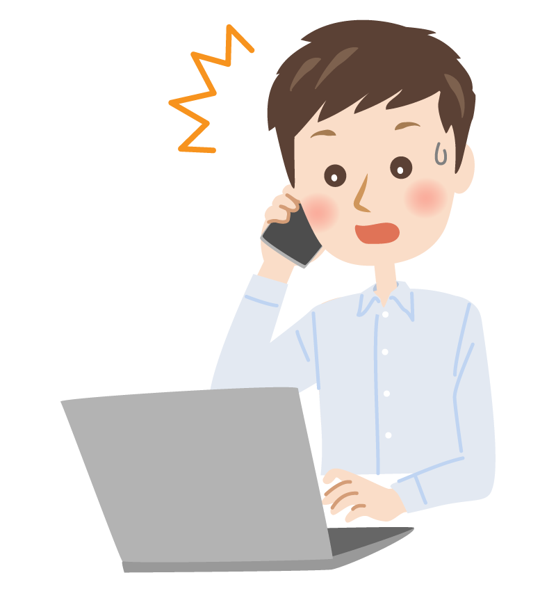 パソコンを前にスマホで電話をして驚く男性のイラスト