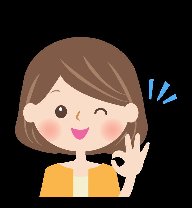 OKサインをする女性の顔イラスト
