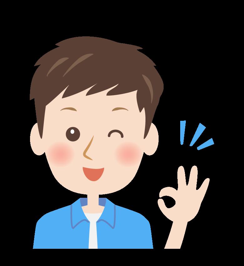 OKサインをする男性の顔イラスト