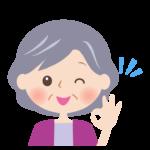 OKサインをするおばあさんの顔イラスト