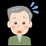 焦っているおじいさんの顔のイラスト