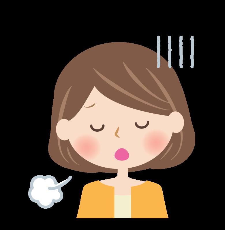 深いため息をつく女性の顔のイラスト