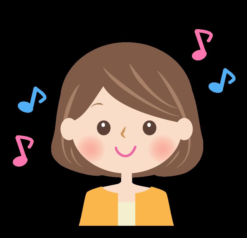 笑顔の女性の顔と音符のイラスト