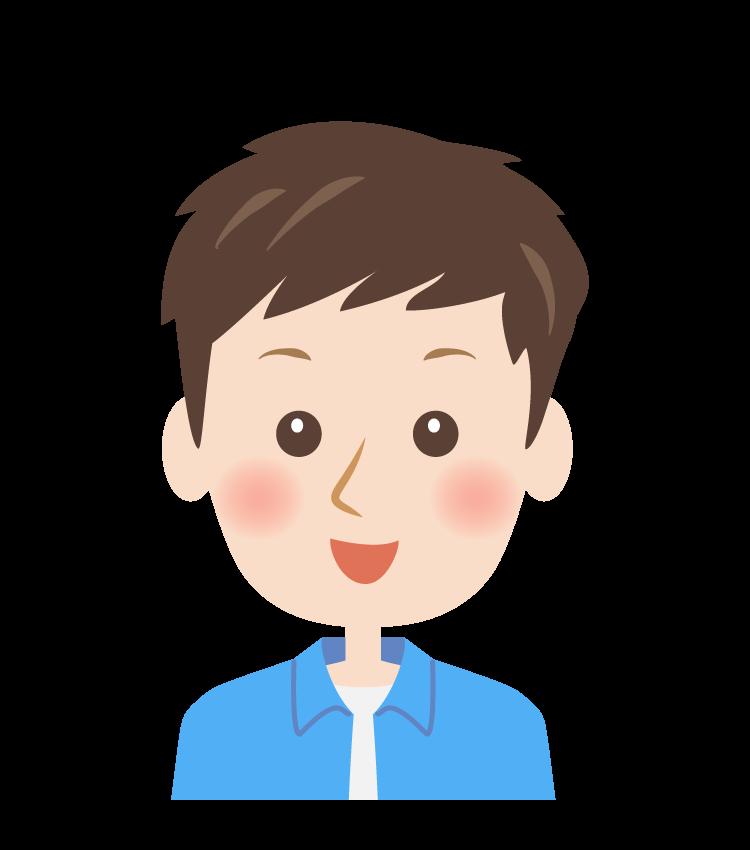 笑顔の男性の顔イラスト