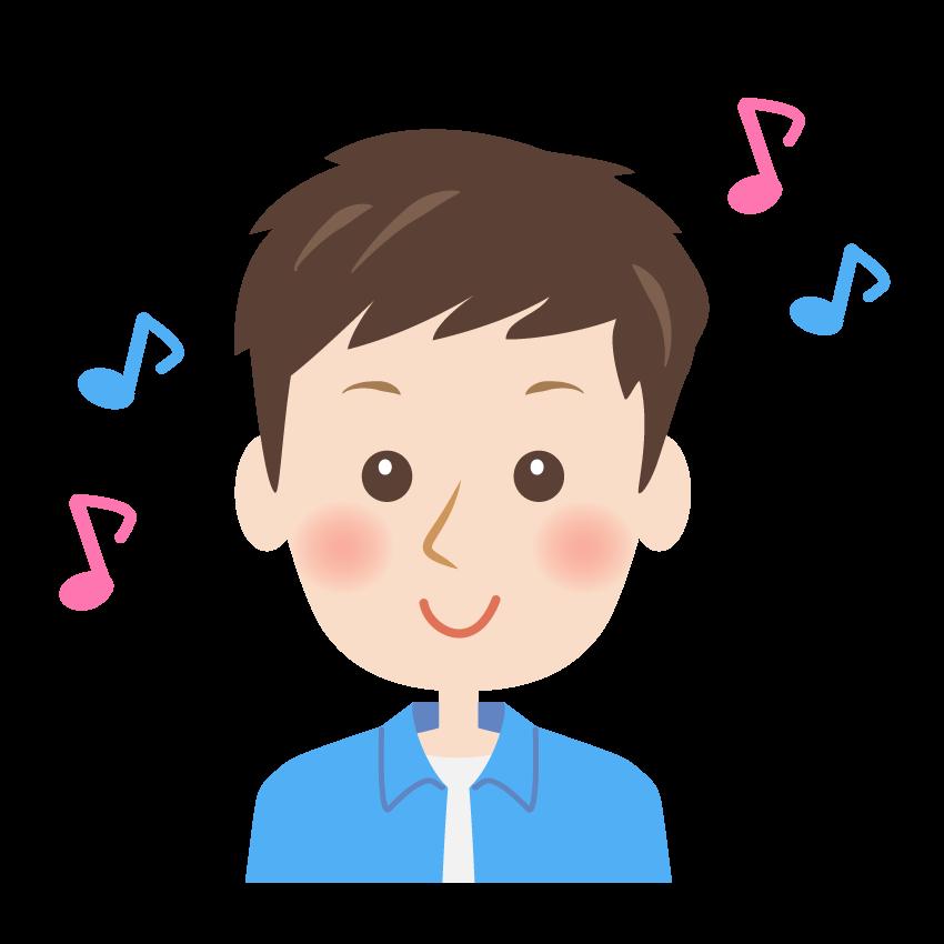笑顔の男性の顔と音符のイラスト