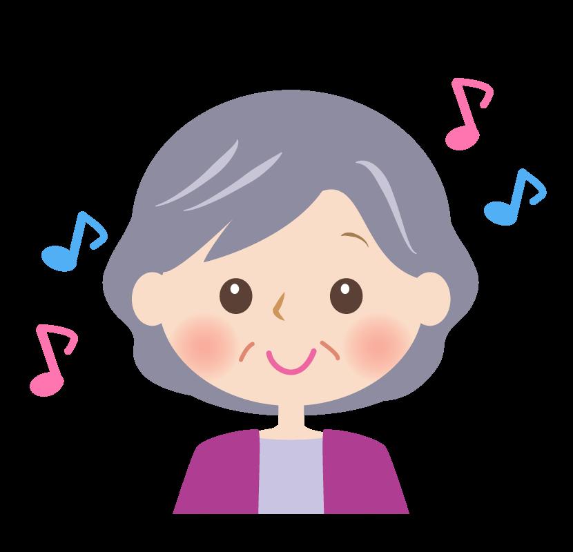 笑顔のおばあさんの顔と音符のイラスト