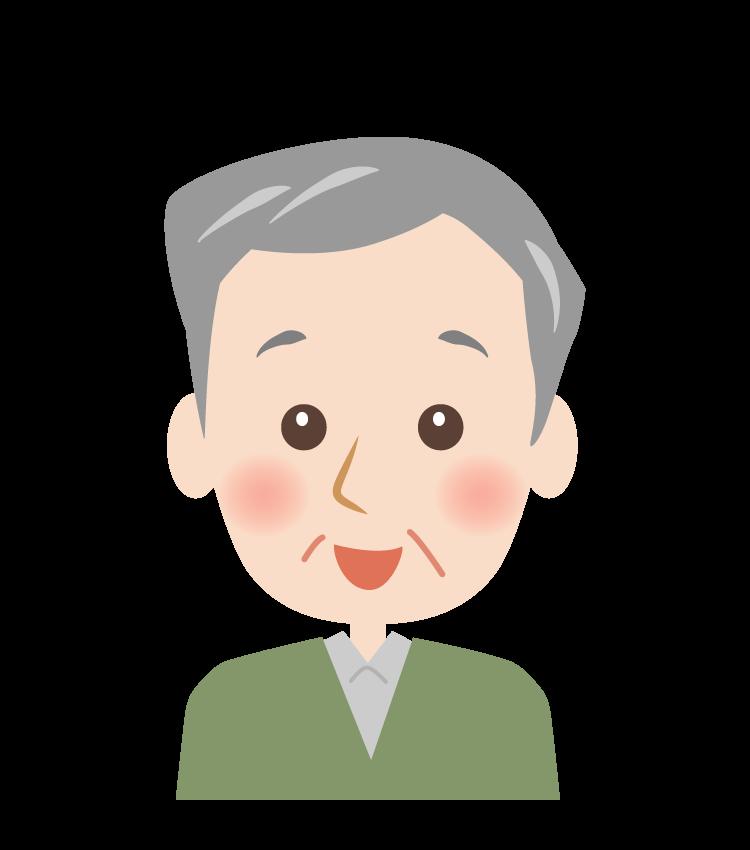 笑顔のおじいさんの顔イラスト