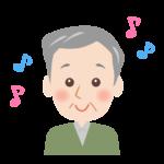 笑顔のおじいさんの顔と音符のイラスト