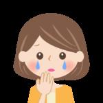ホロリと涙をこぼす女性の顔のイラスト