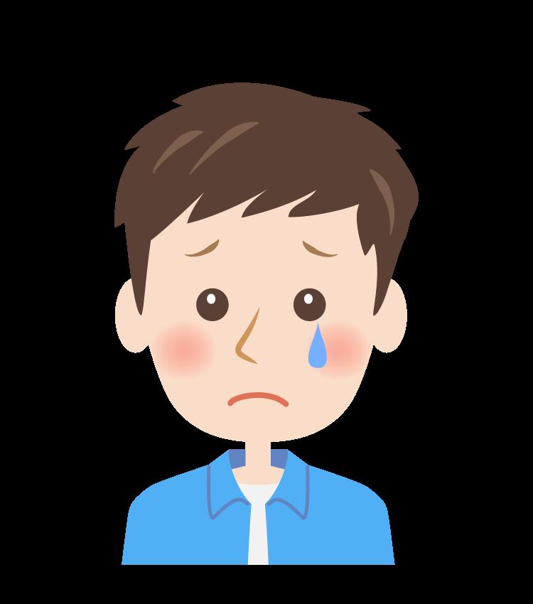 ホロリと涙をこぼす男性の顔のイラスト