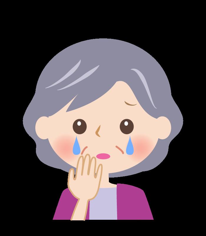 ホロリと涙をこぼすおばあさんの顔のイラスト