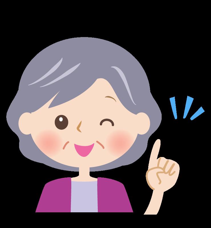 ウィンクをするおばあさんの顔のイラスト