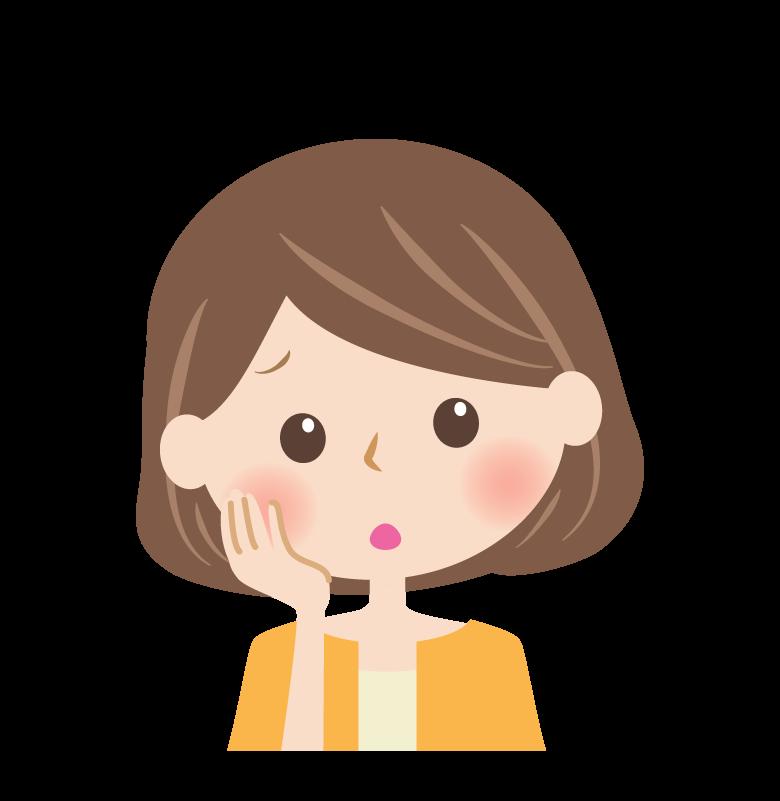 頬杖をついて考えている女性の顔のイラスト
