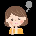 頬杖をつき思い悩む女性の顔のイラスト