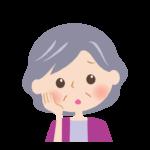 頬杖をついて考えているおばあさんの顔のイラスト