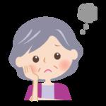 頬杖をつき思い悩むおばあさんの顔のイラスト