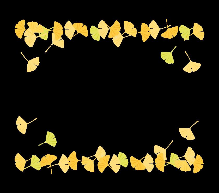 イチョウのフレーム・枠イラスト_04