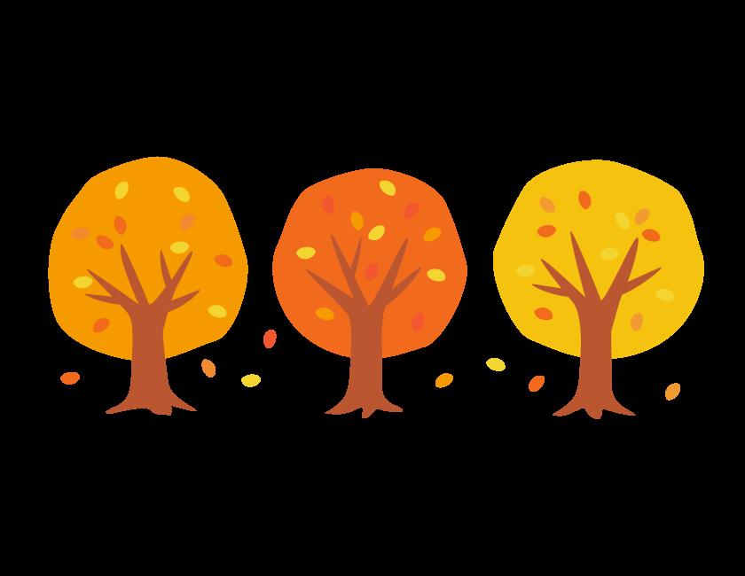 紅葉した3本の木のイラスト