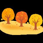 紅葉した木の並木道のイラスト
