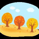 紅葉した木の並木道と空のイラスト