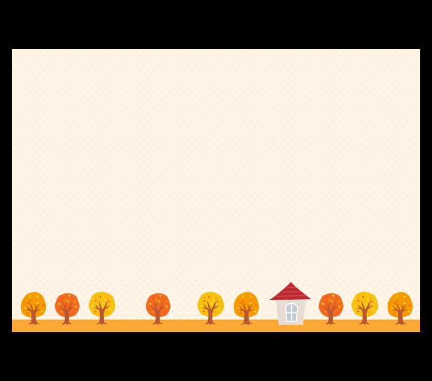 紅葉した木と家のドットフレーム・枠イラスト