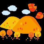 紅葉した山と落ち葉のイラスト