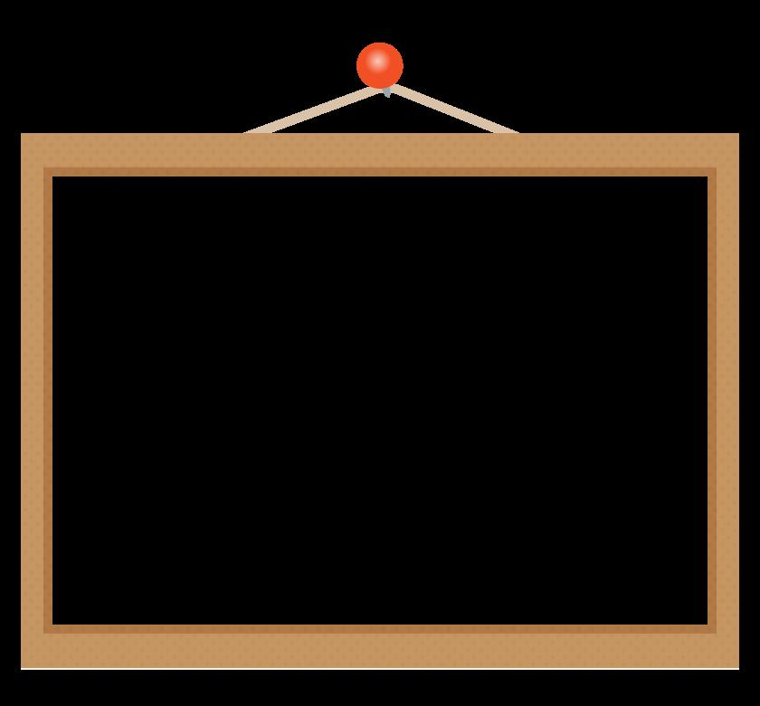 赤いピンとこげ茶色のボードのフレーム・枠イラスト