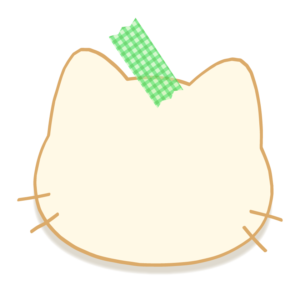 マスキングテープで留めた猫の形のメモ用紙風フレーム・枠イラスト