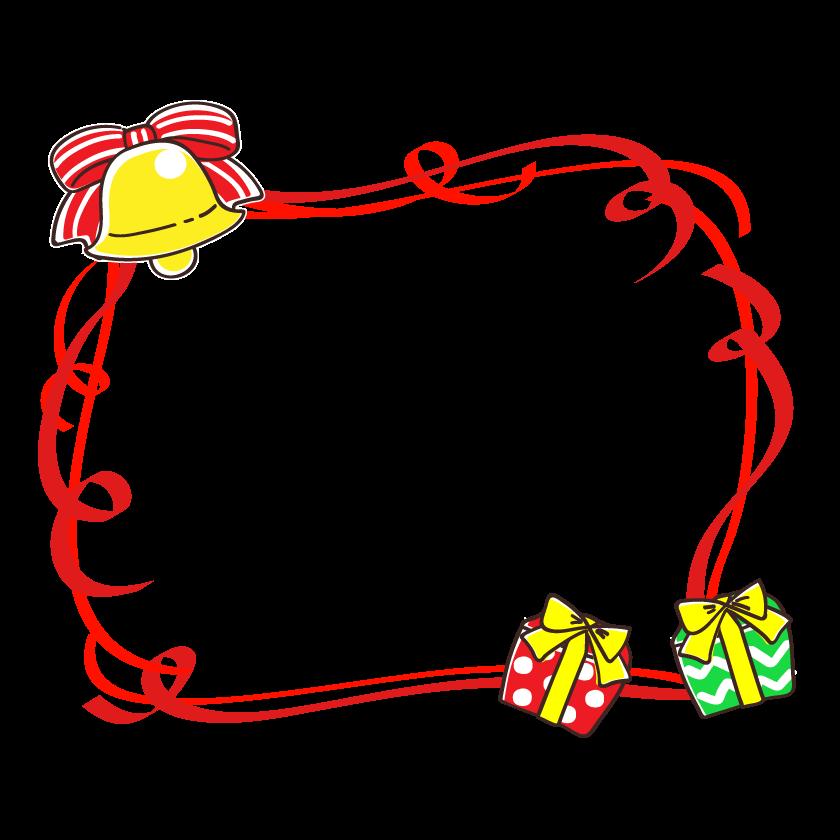 クリスマスプレゼントとベルの赤いリボンのフレーム・枠イラスト