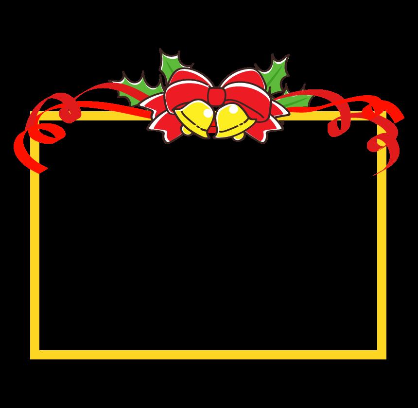 クリスマスベルと赤いリボンの黄色い四角フレーム・枠イラスト