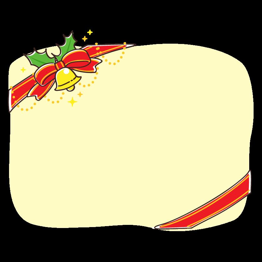クリスマスベルと斜めにかけた赤いリボンの黄色フレーム・枠イラスト
