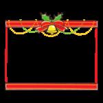 クリスマスベルと赤いリボンの上下フレーム・枠イラスト