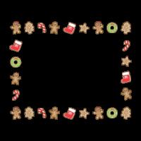 クリスマスのクッキー・ジンジャーブレッドマンの囲みフレーム・枠イラスト